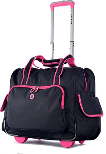 Olympia Deluxe Fashion Rolling Overnighter, Black Pink, One Size
