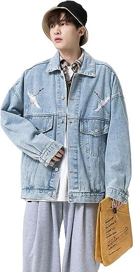 FHLHY デニム ジャケット メンズ ジージャン アウター ヒップホップ Gジャン 長袖 ファッション 人気 大きいサイズ