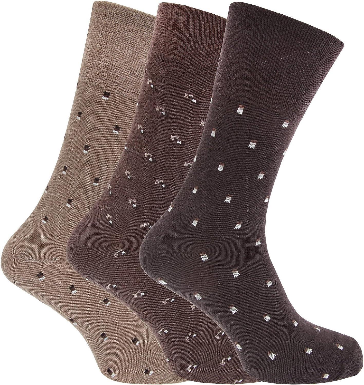 Argyle size 6-11 Men/'s Gentle grip brown socks Pack of 3