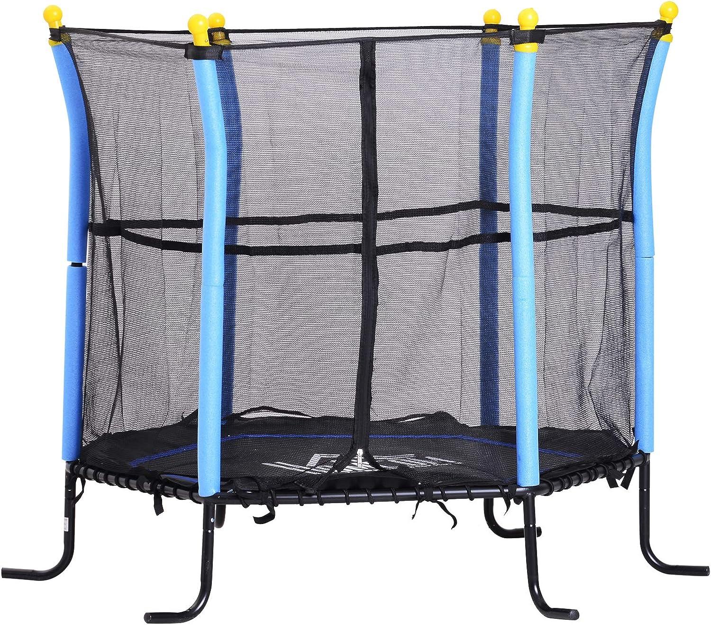 HOMCOM Trampolin f/ür Kinder Gartentrampolin mit Sicherheitsnetz Randabdeckung Gummiseil gepolstert Stahl Blau /Ø155 cm bis 60 kg