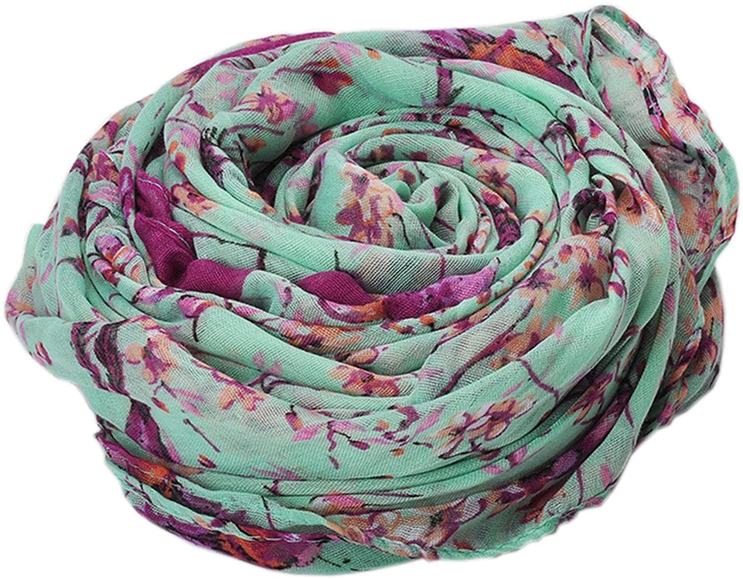 Bettyhome Retro Magpie Branches Print Women's Scarf Shawl Lightweight 70.87 inch x 35.43 inch Diff Color