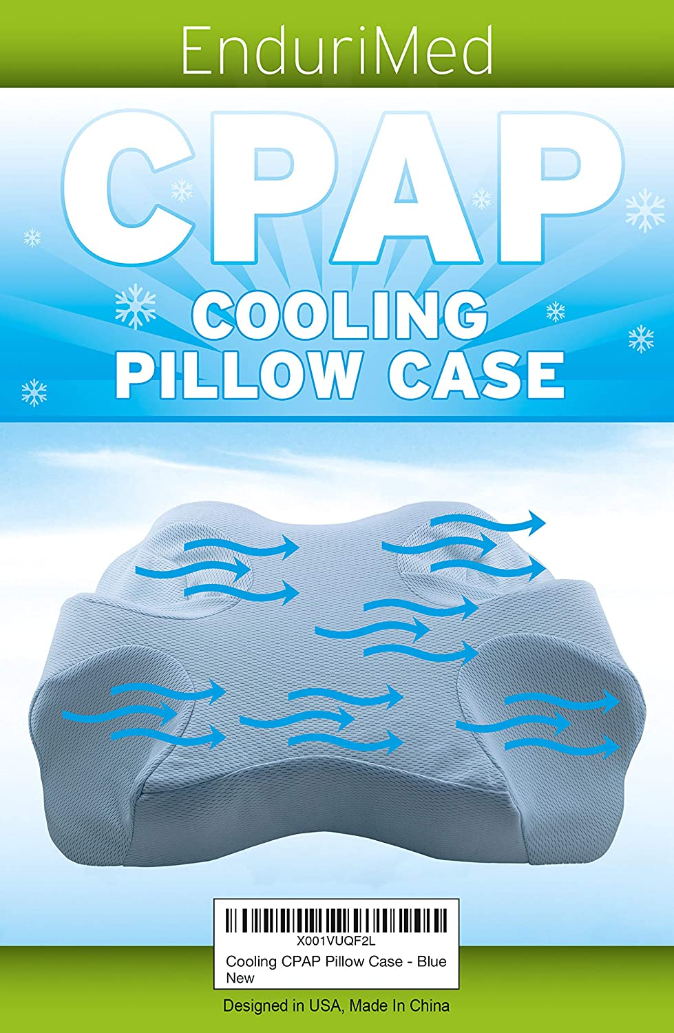 Pillow Case for Use with Endurimed CPAP Comfort Pillow - Cooling Fabric, Blue