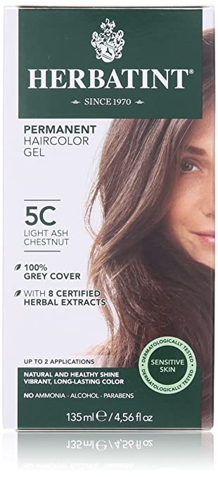 Herbal Clear Permanent Hair Color Gel, Light Ash Chestnut, 4.5 Ounce