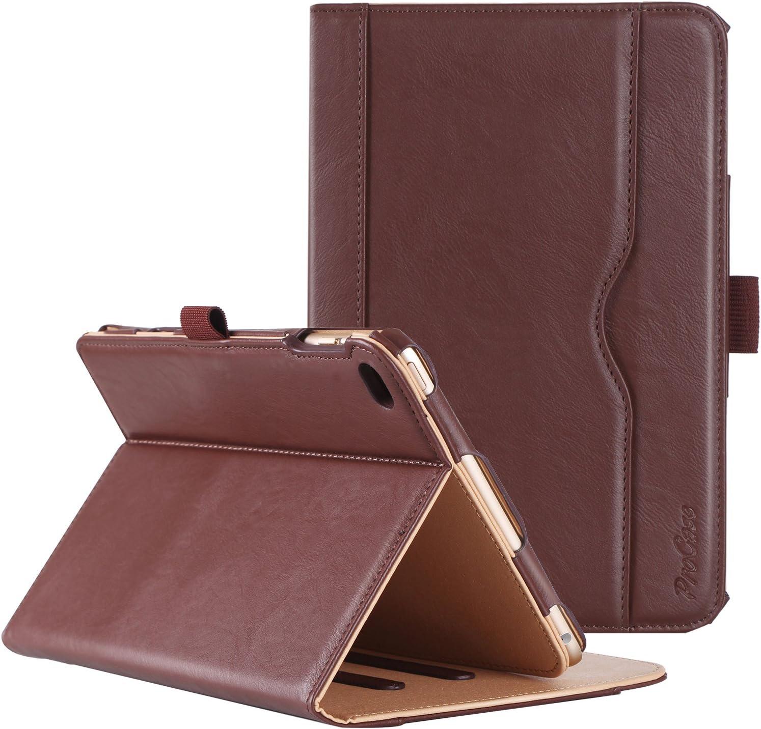 ProCase iPad Mini 4 Case - Leather Stand Folio Case Cover for 2015 Apple iPad Mini 4 (4th Generation iPad Mini, mini4), with Multiple Viewing Angles, auto Sleep/Wake, Document Card Pocket (Brown)
