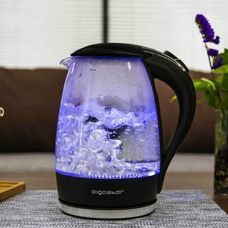 Aigostar Chubby 30LCZ 2200 W Dise/ño exclusivo. Hervidor de agua r/ápido de cristal 1,7 litros apagado autom/ático y protecci/ón contra la ebullici/ón en seco iluminaci/ón LED azul