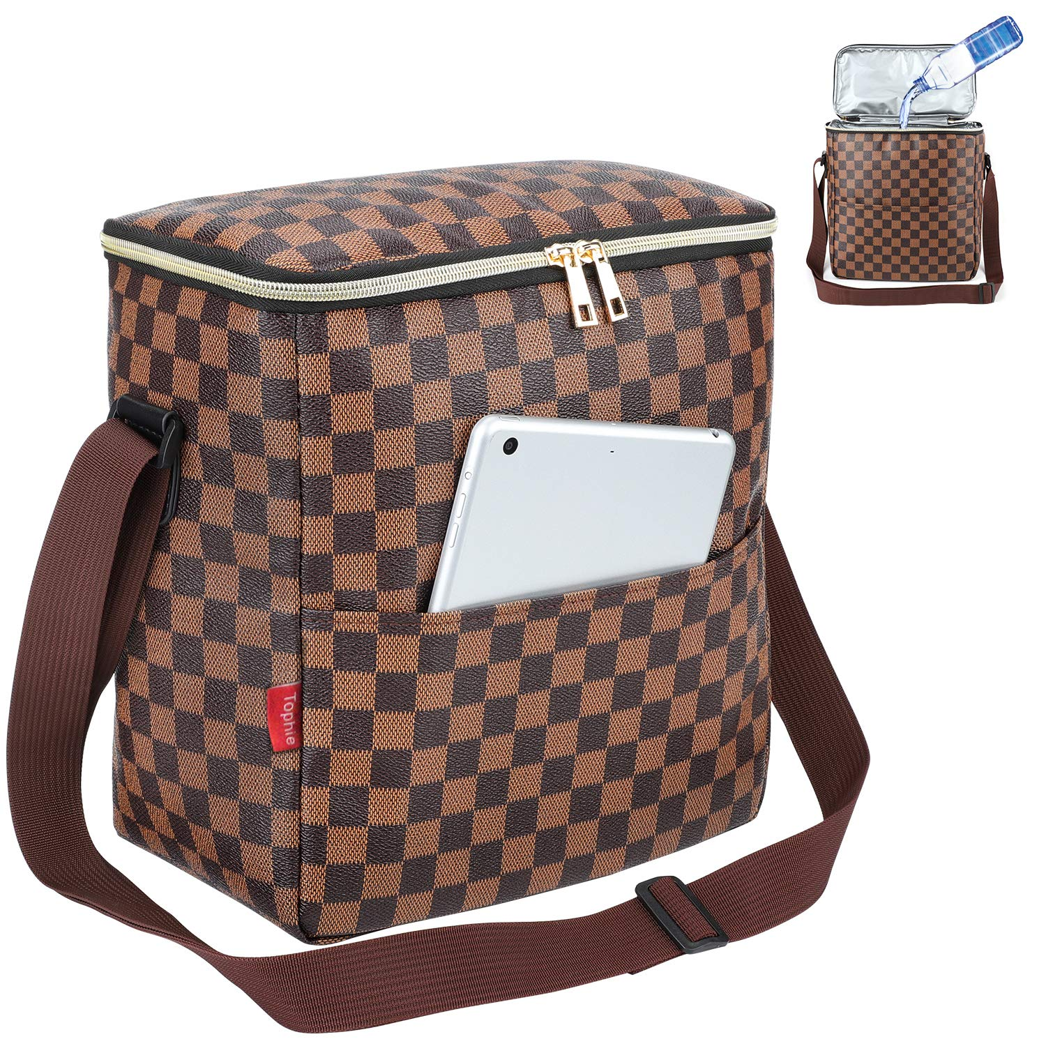 Lunch Bags For Women and Man,Insulated Lunch Box Cooler Bag with Adjustable Shoulder Strap, Water-resistant Thermal PU Soft leather Lunch Shoulder Bag for Work/Picnic/Beach/Hiking(Checked Pattern) by Tophie