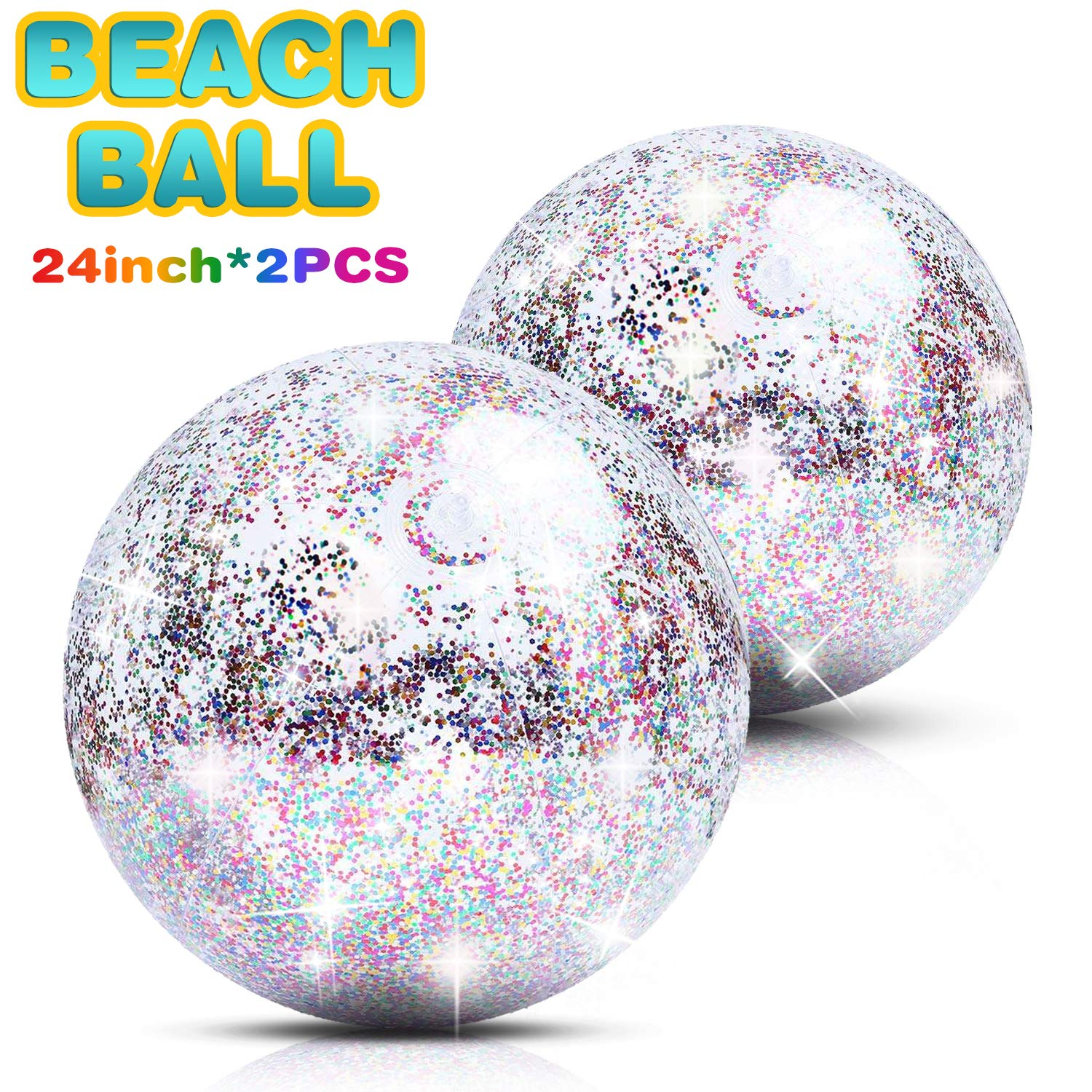,24 inch Jumbo Confetti Beach Ball Gold Inflatable Sequin Giant Party Ball Pool Water Toy for Kids Adults Summer Beach LcLand Glitter Beach Ball 2 Pack