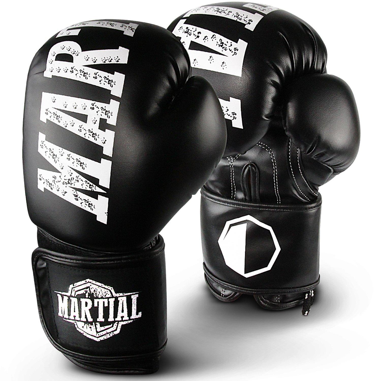MARTIAL Boxhandschuhe aus bestem Material für lange Haltbarkeit! Kickboxhandschuhe für Kampfsport, MMA, Sparring und Boxen mit optimaler Schlagdämpfung. Hoher Tragekomfort inkl Beutel!