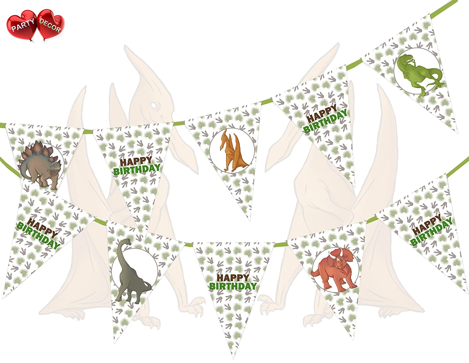 Personalised Boys Bunting Banner Party Decoration Flags Green Dinosaur Any Name