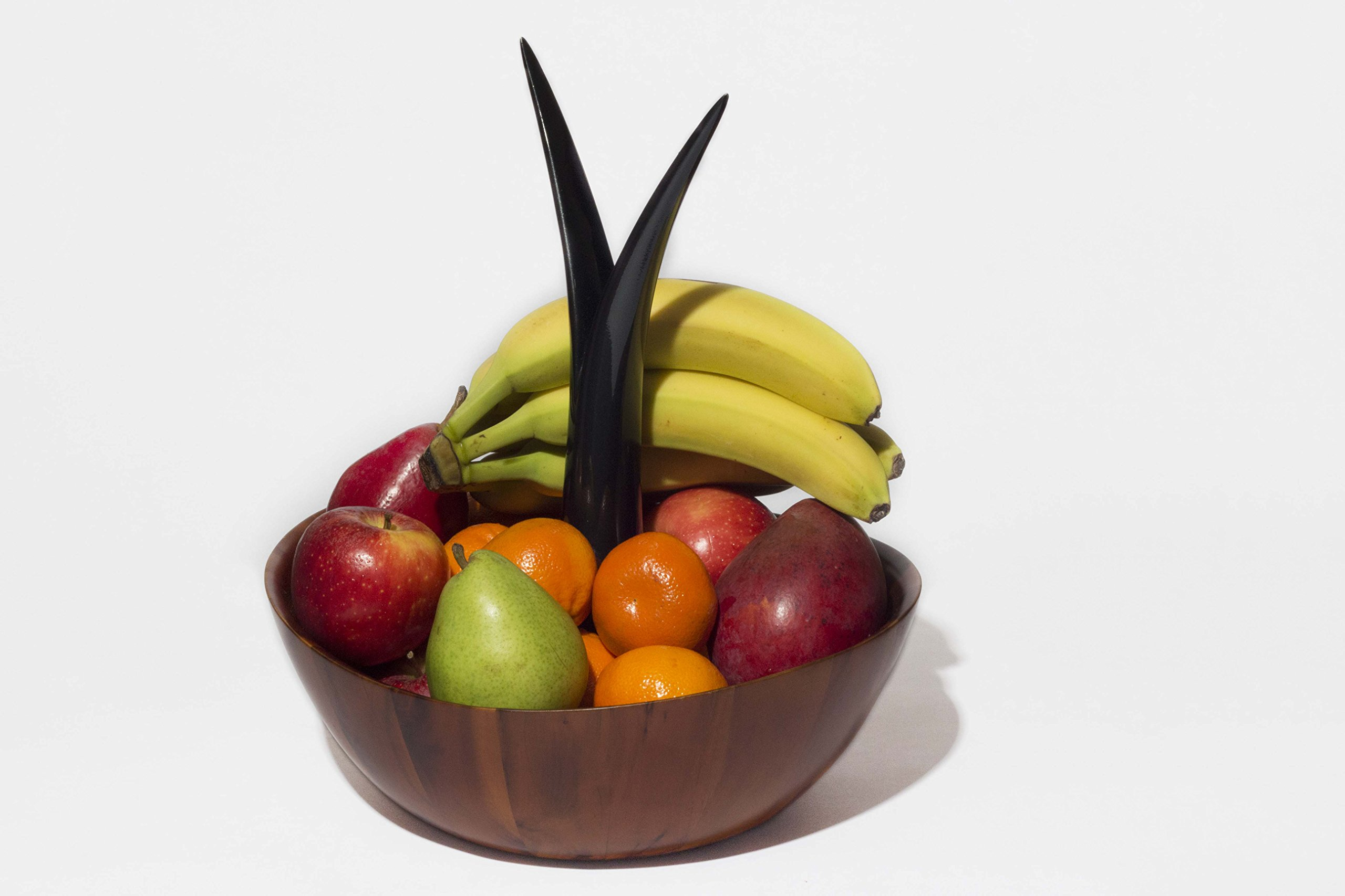 Acacia Fruit Bowl with Bananna Hanger. 12 x 5in.