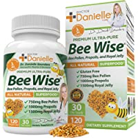Dr. Danielle's Bee Wise - Bee Pollen Supplement - Bee Well with Royal Jelly, Propolis, Beepollen in 4 Daily Bee Pollen Capsules