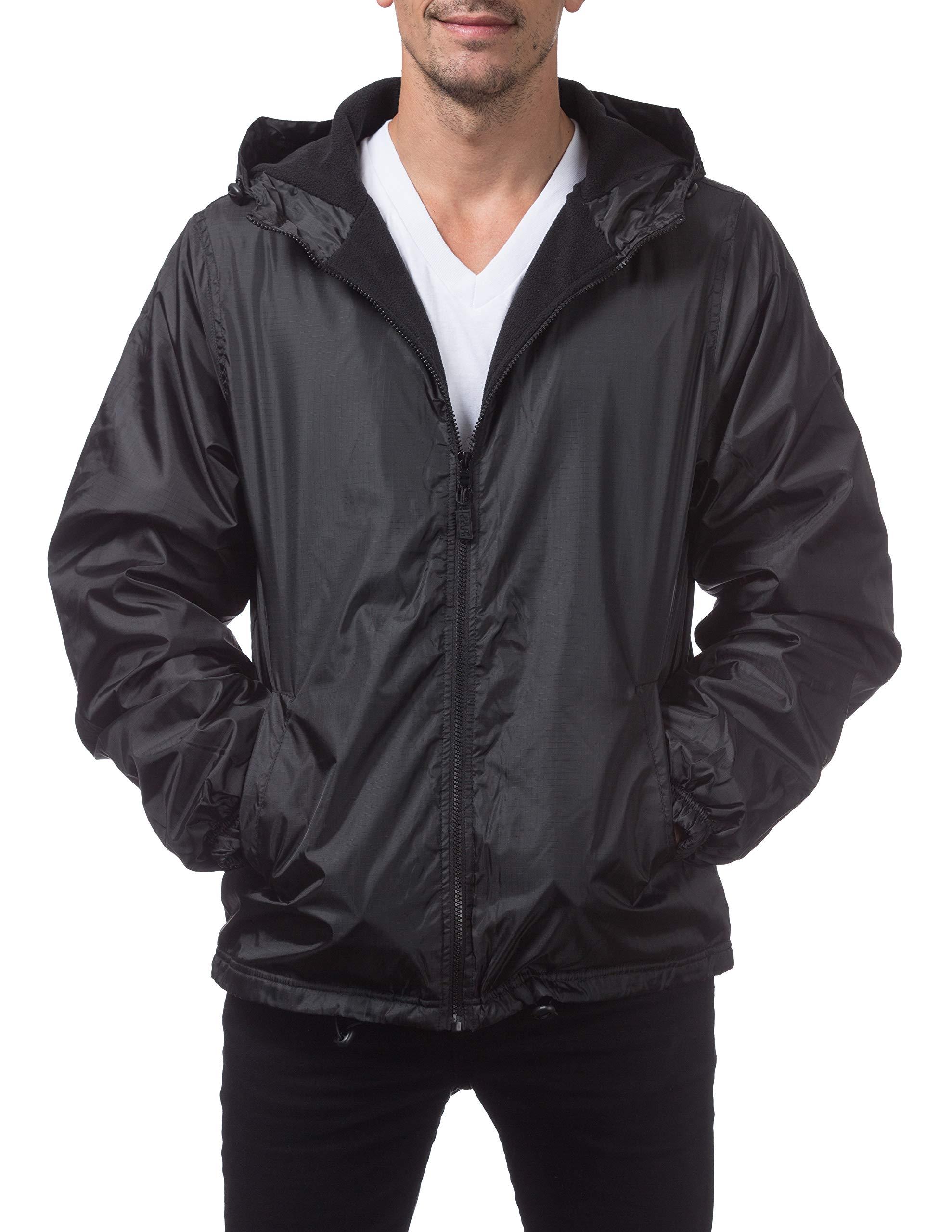 Pro Club Men's Fleece Lined Windbreaker Jacket, 2X-Large, Black by Pro Club