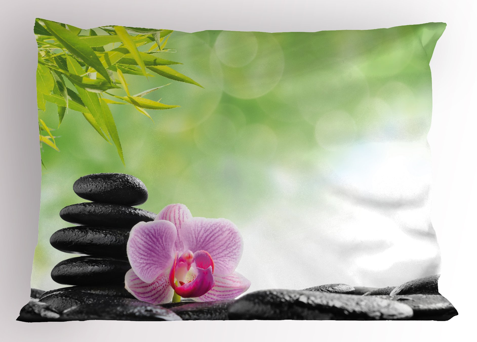 Ambesonne Asian Pillow Sham, Zen Basalt Stone and Orchid Flower with Dew Harmony Therapeutic Spa Theme Photo, Decorative Standard Queen Size Printed Pillowcase, 30 X 20 inches, Green Black Pink