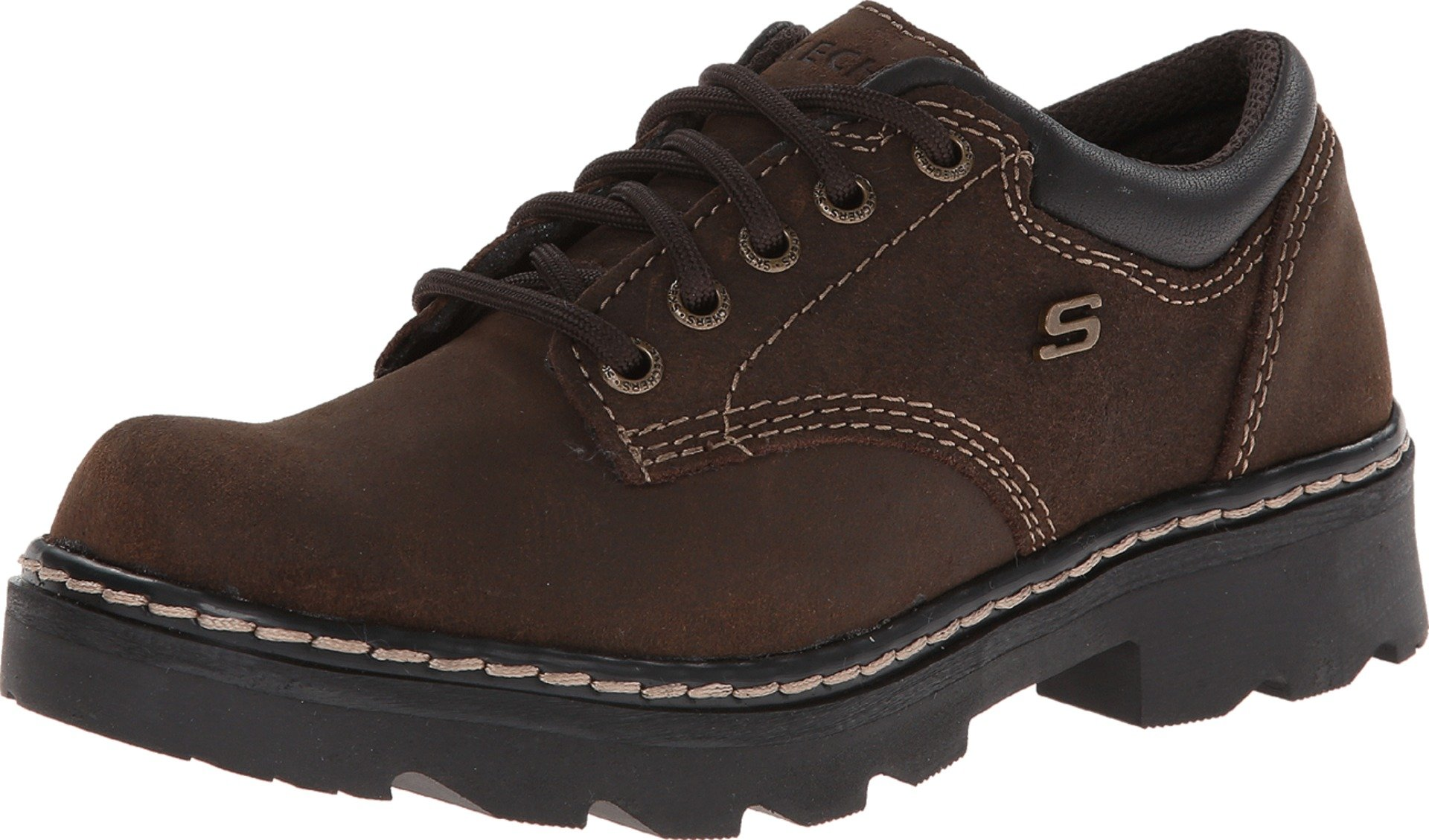 Skechers Women's Parties-Mate Oxford,Chocolate Suede Leather,9.5 M US