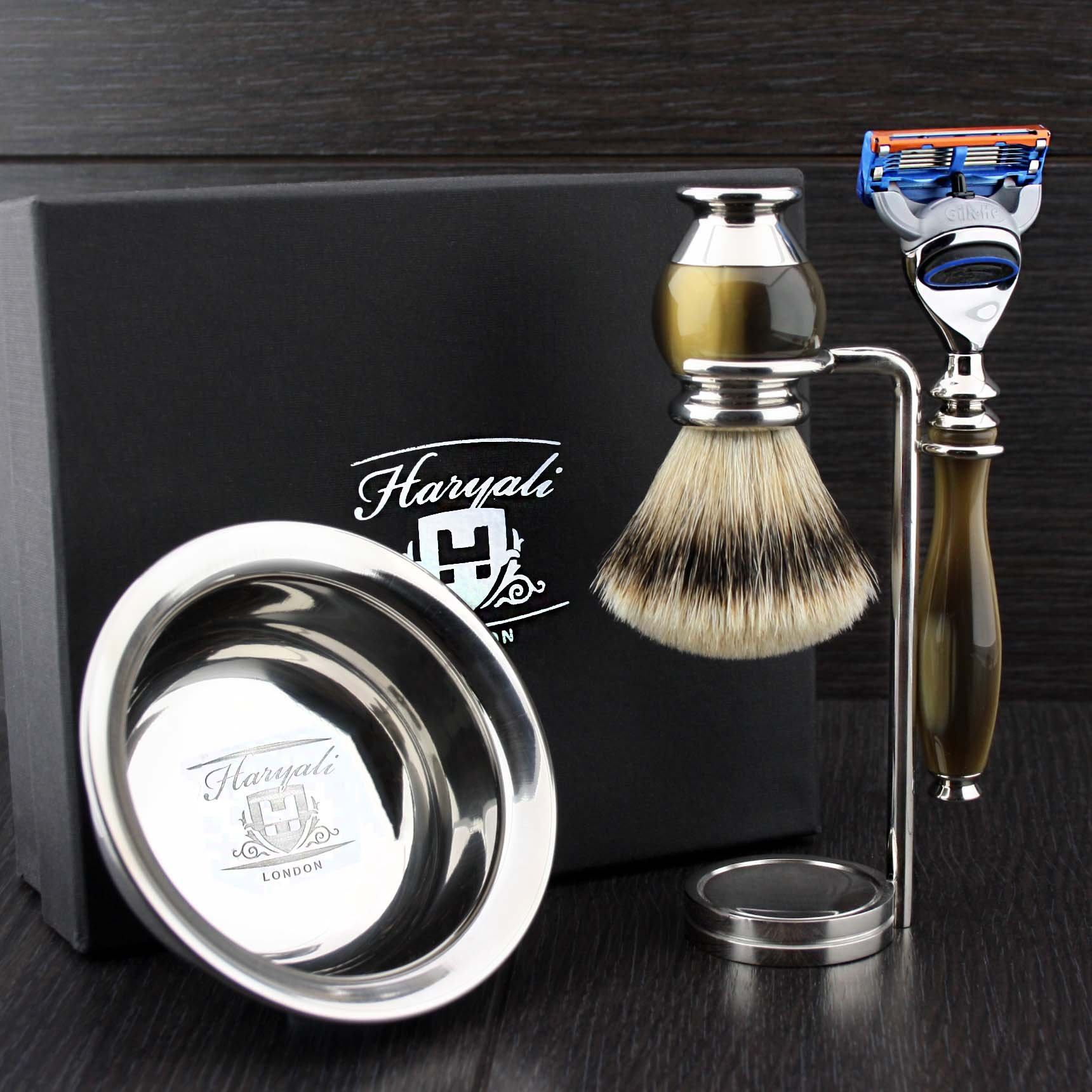 Simulated Horn and Nickel 4 Pieces Men's Shaving Set With Gillette Fusion (Replaceable Head) Razor. Newly Designed By HARYALI LONDON