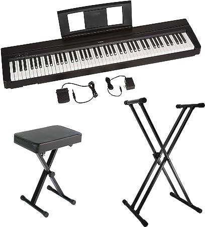 Yamaha P45 piano digital de acción pesada de 88 teclas con pedal de sustento, fuente de alimentación, soporte de teclado de doble soporte en forma de ...