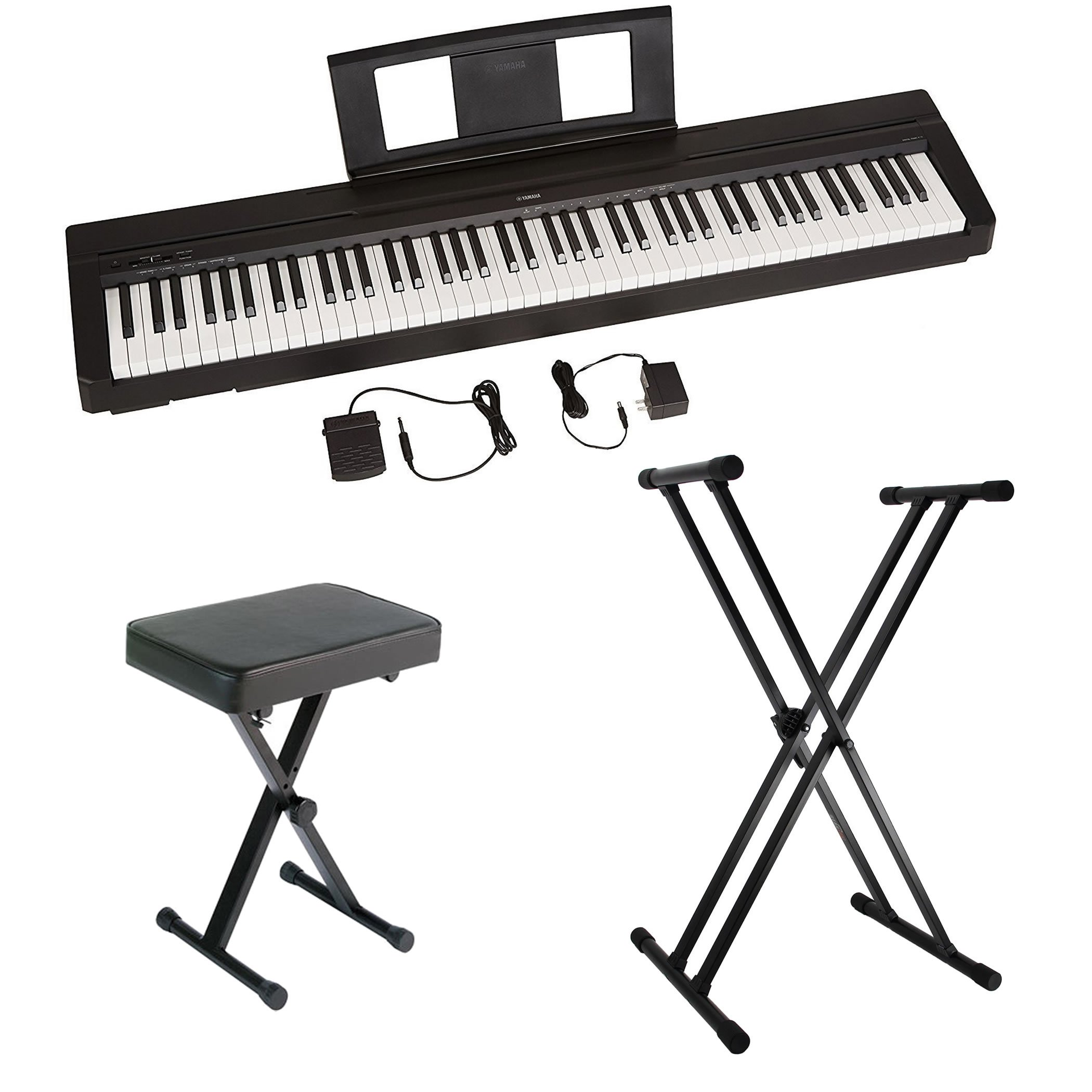 Yamaha P45 88-Key Weighted Action Digital Piano with Sustain Pedal, Power Supply, Double-Braced X-Style Keyboard Stand, and Padded X-Style Piano Bench by Yamaha Genesis