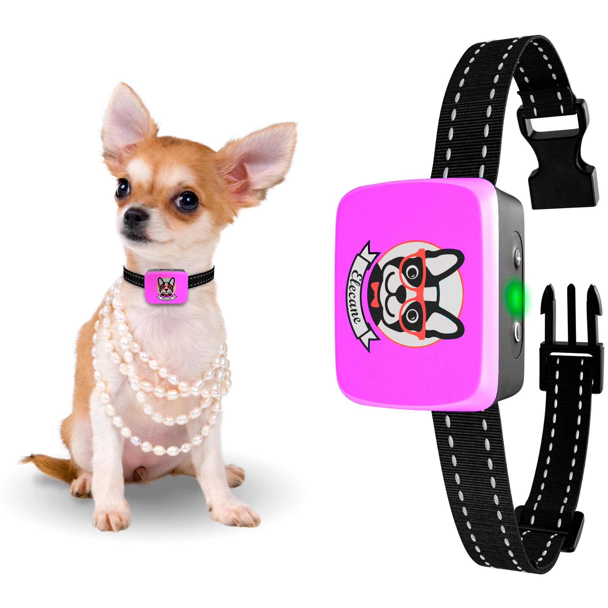 Small Dog Bark Collar Rechargeable - Anti Barking Collar For Small Dogs - Smallest Most Humane Stop Barking Collar - Dog Training No Shock Bark Collar Waterproof - Safe Pet Bark Control Device by ELECANE