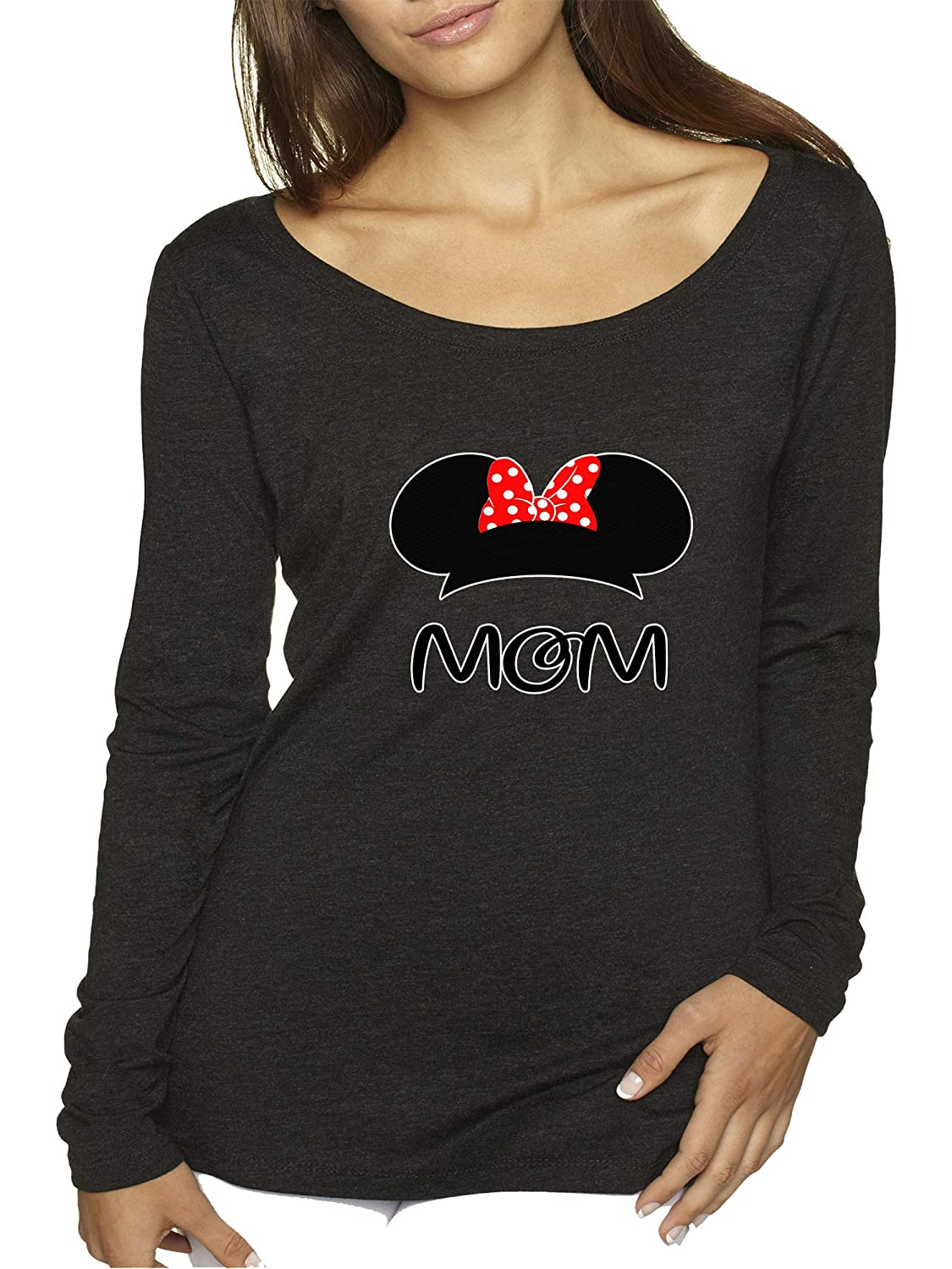 Black New Way 1148  Women's Long Sleeve TShirt Mom Mother Minnie Ears Polka Dot Bow