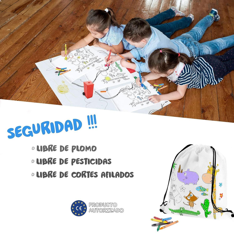 Mega Pack de 30 Mochilas para Pintar con Ceras - Diversión Asegurada - Original Regalo para Cumpleaños, Fiestas Infantiles en el Colegio y Comuniones ...