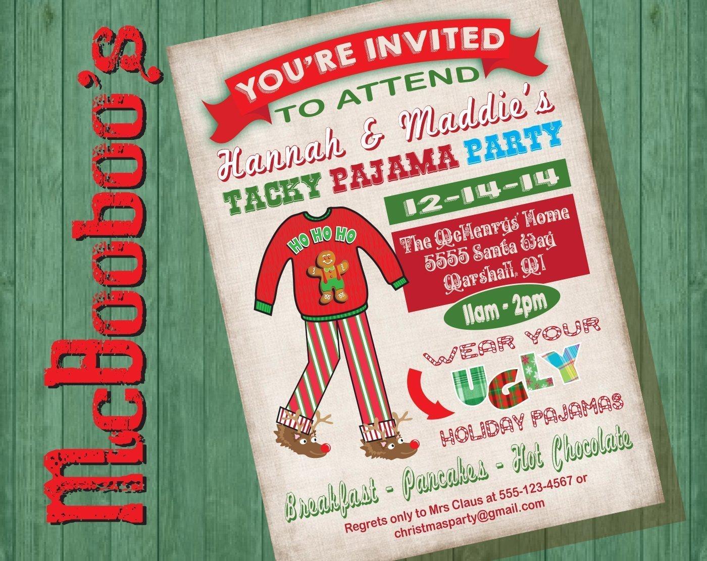 Pancakes Pajamas Birthday Party Invitation fancy invitation wording
