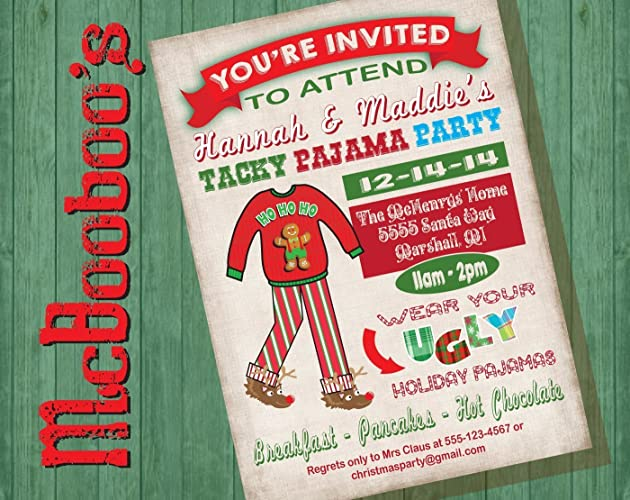 ugly tacky christmas pajama party on an antique background - Christmas Pajama Party
