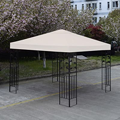Gazebos New 10' X 10' Top Cover Patio Canopy Replacement 1-Tier Beige: Garden & Outdoor