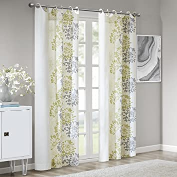 Madison Park Anaya Curtain Grommet Tops Thermal Insulated Window Panel for  Living Room Bedroom and Dorm, 50x84, Green/White