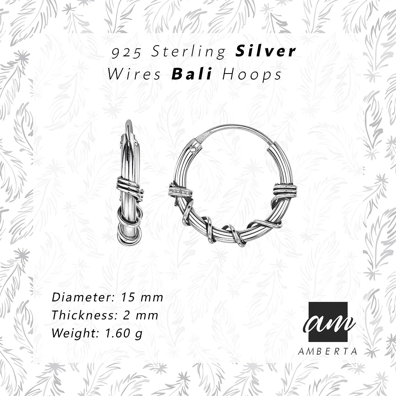 Diff/érents Styles Amberta Boucles D/'Oreilles Cr/éoles Ethniques de Bali en Argent Sterling 925