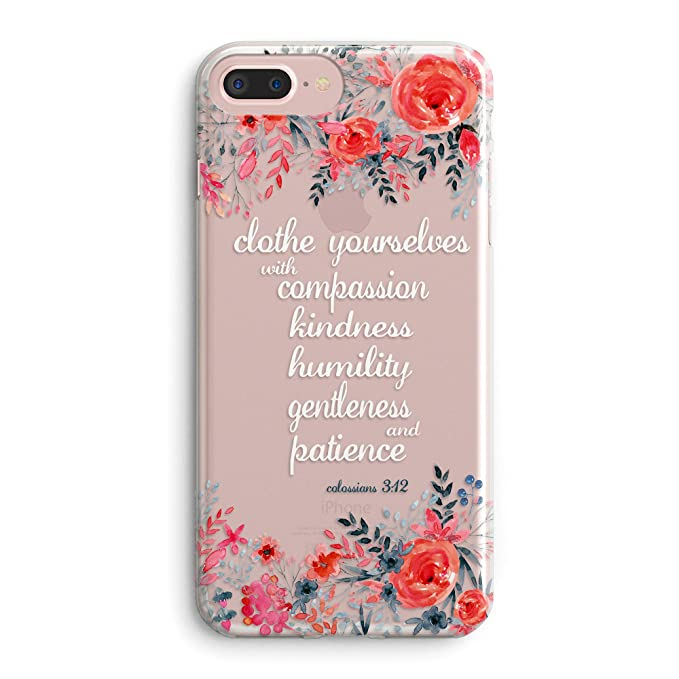 Amazon.com: iPhone 6 Plus/iPhone 6s Plus Case,Floral Flowers Bible Verses Inspirational Quotes Cute Girls Women Colossians 3:12 Clothe Yourselves Roses ...