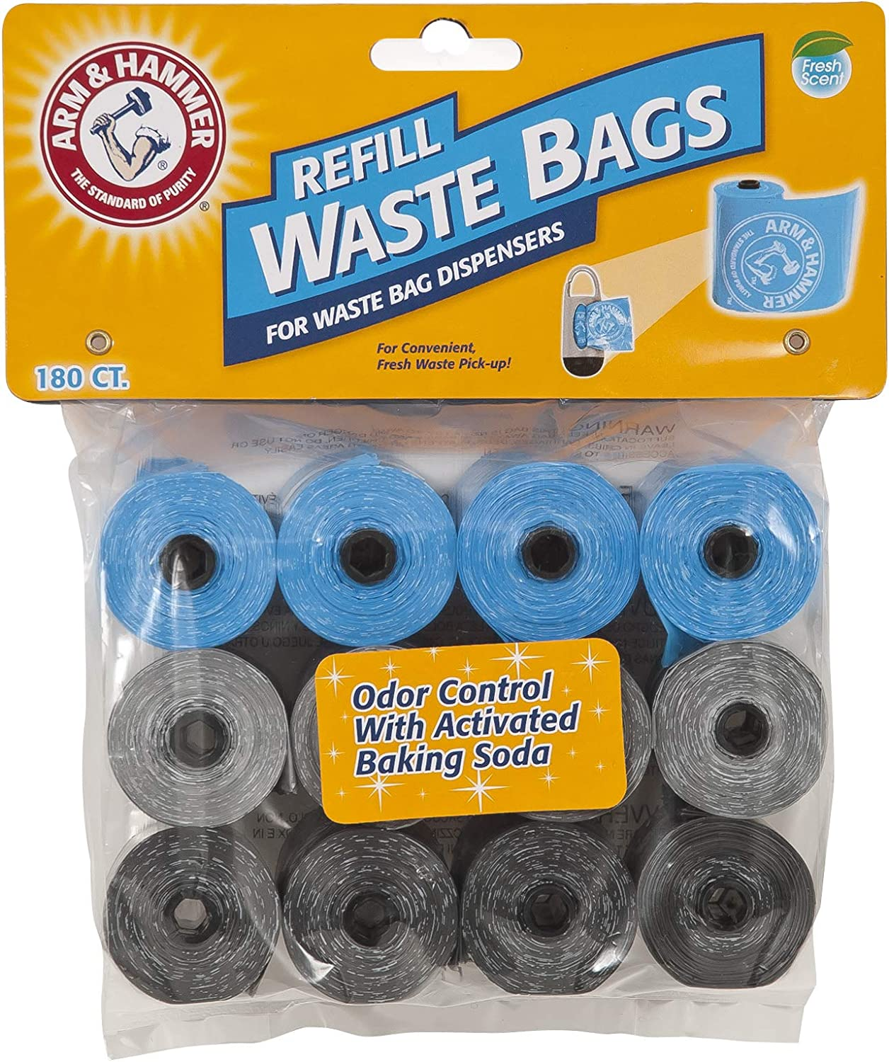 Arm & Hammer Easy-Tear Disposable Waste Bag Refills Assorted Colors Various Multi-packs Available : Pet Waste Bags : Pet Supplies