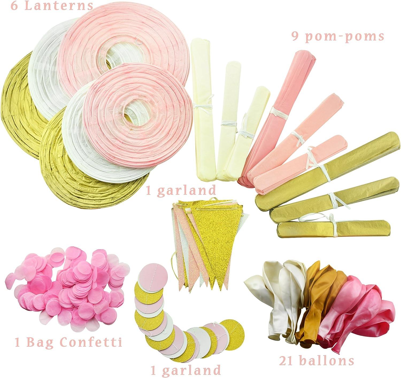 Pompoms Blumen,Konfettiballons Pink und Gold/erste Geburtstag Deko M/ädchen Mit Happy Birthday Banner 1./Geburtstag Dekorationen f/ür M/ädchen Latexballons