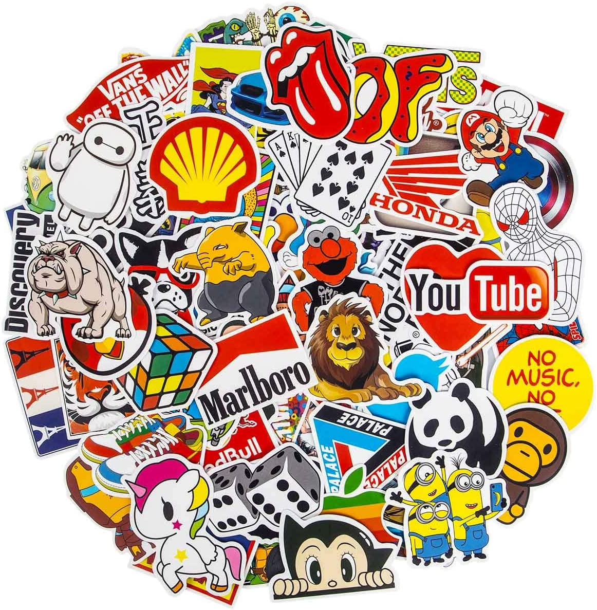 Brand Stickers, 100Pcs Cool Stickers Waterproof Vinyl Stickers for Water Bottles Skateboard Stickers for Teens Laptop Stickers Motorcycle, Bicycle, Graffiti Patches Decal