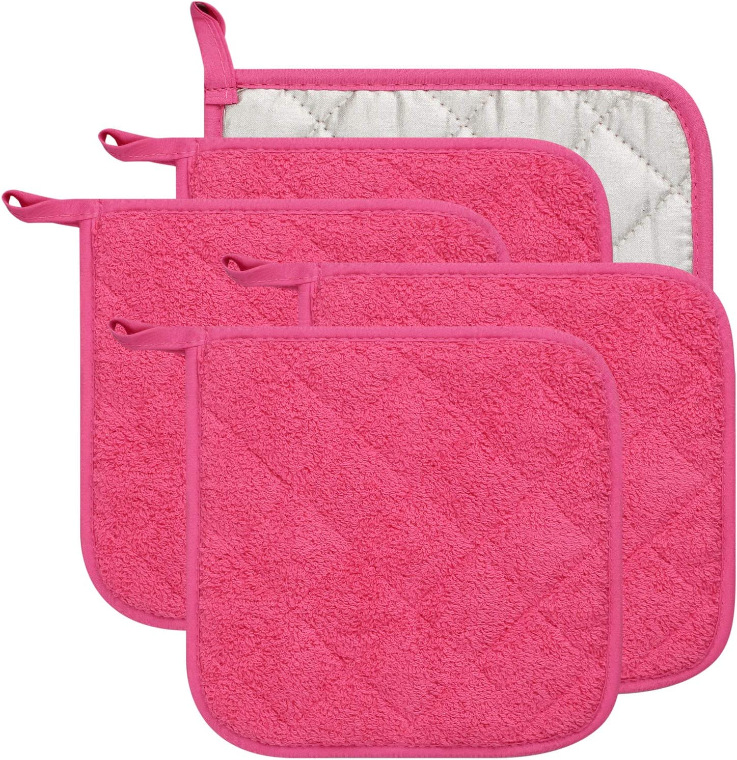 Lifaith 100% Cotton Kitchen Everyday Basic Terry Pot Holder Heat Resistant Coaster Potholder for Cooking and Baking Set of 5 (Dark Pink, Potholder)