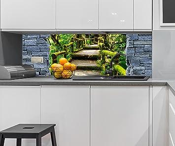 wandmotiv24 Cocina pared trasera Óptica 3D - escaleras de madera en la selva - muro de piedra áspera ...