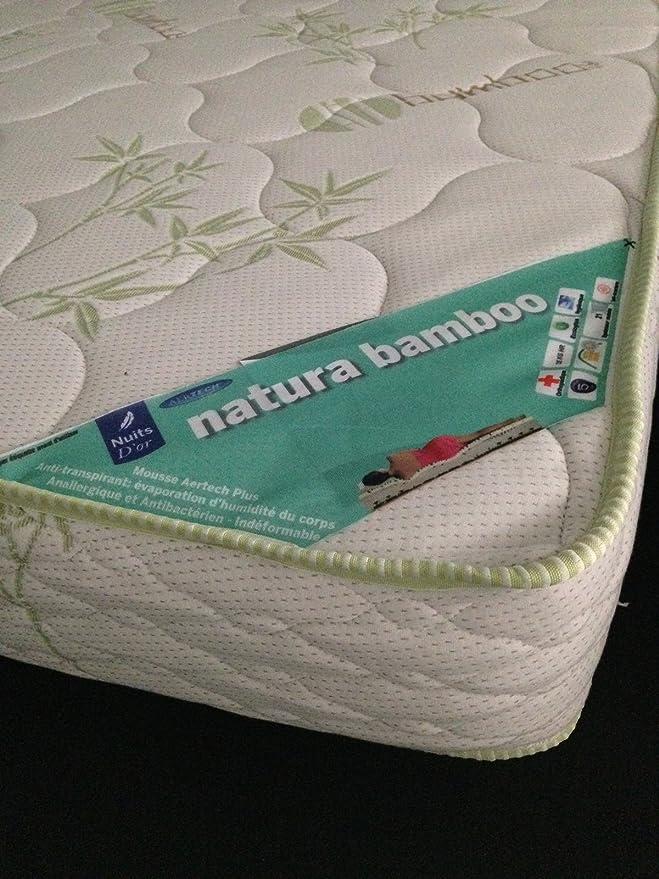 Nuits Dor Bamboo colchón 90 x 190 Densidad 35 Kg/m3 - Altura 21 cm - Apoyo Muy Granja - ortopédico: Amazon.es: Hogar