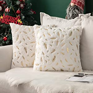 MIULEE Christmas Pack of 2 Decorative Throw Pillow Covers Plush Faux Fur with Gold Feathers Gilding Leaves Cushion Covers Cases Soft Fuzzy Cute Pillowcase for Couch Sofa Bed, 18 x 18 Inch, Ivory
