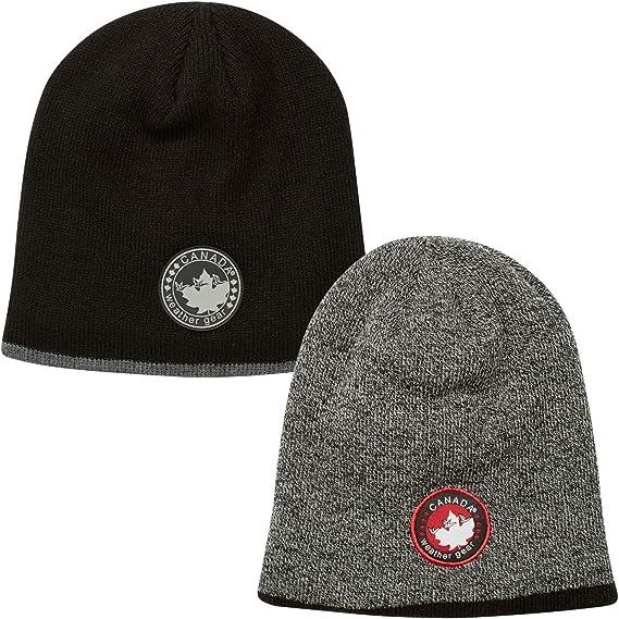 CANADA WEATHER GEAR Men's Winter Hat – Fleece Lined Knit Beanie (2 Pack)