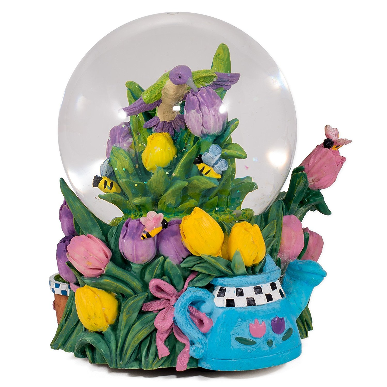 特価 Hummingbird Bumble Bees Tulip Garden B010BPQOFI Glass In Musical Snow Glass Globe Plays Song In the Garden B010BPQOFI, アールトレードSHOP:e83994c1 --- irlandskayaliteratura.org