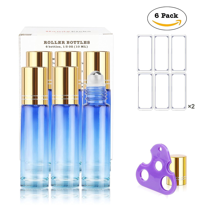 Cristal Roller botellas para aceite Aromaterapia 10 ml (degradado azul, paquete de 6) - Bola de acero inoxidable, cada Botella tiene una independientes del ...