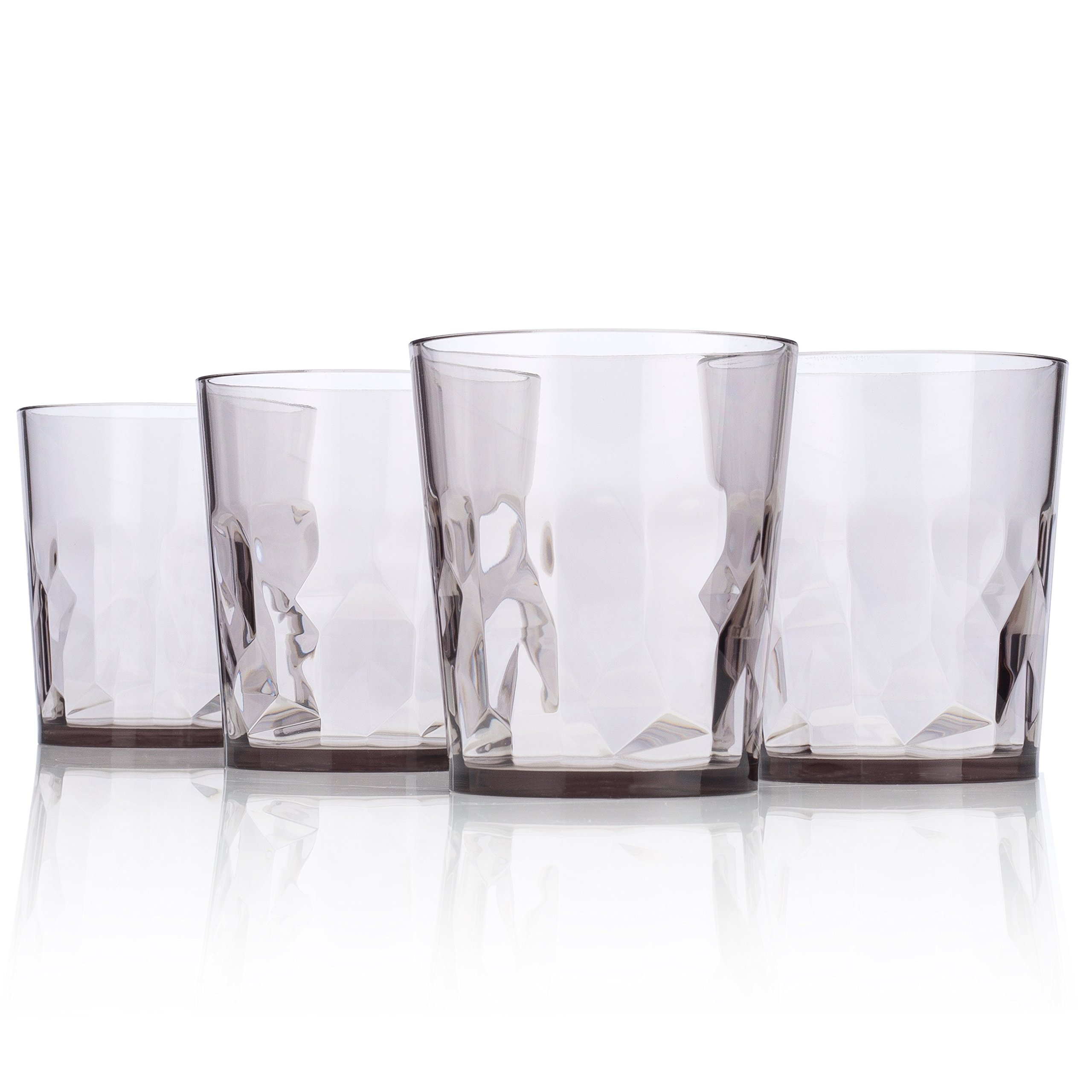 8 oz Premium Juice Glasses - Set of 4 - Unbreakable Tritan Plastic - BPA Free - 100% Made in Japan (Smoky Gray)