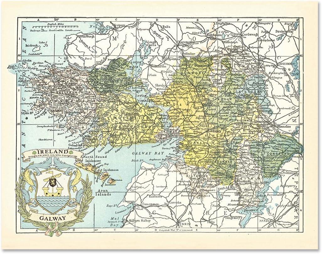 Map Of County Galway Ireland.Amazon Com Historic Families Galway County Map Of Ireland Antique