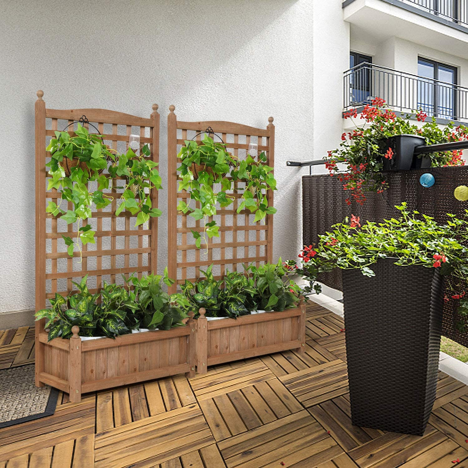 Planter Raised Bed for Climbing Plants Wood Garden Raised Bed with Trellis for Climbing Plants Outdoor