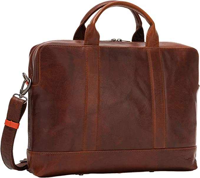 Nuvola Pelle Mens Leather Briefcase Business Bag with Double Handle Zip and Strap Inner Tablet Pocket Brown