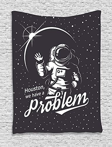Ambesonne Outer Space Tapestry, Space Themed Art with Houston We Have a Problem Message Illustration, Wall Hanging for Bedroom Living Room Dorm Decor, 40 X 60 , Charcoal Grey