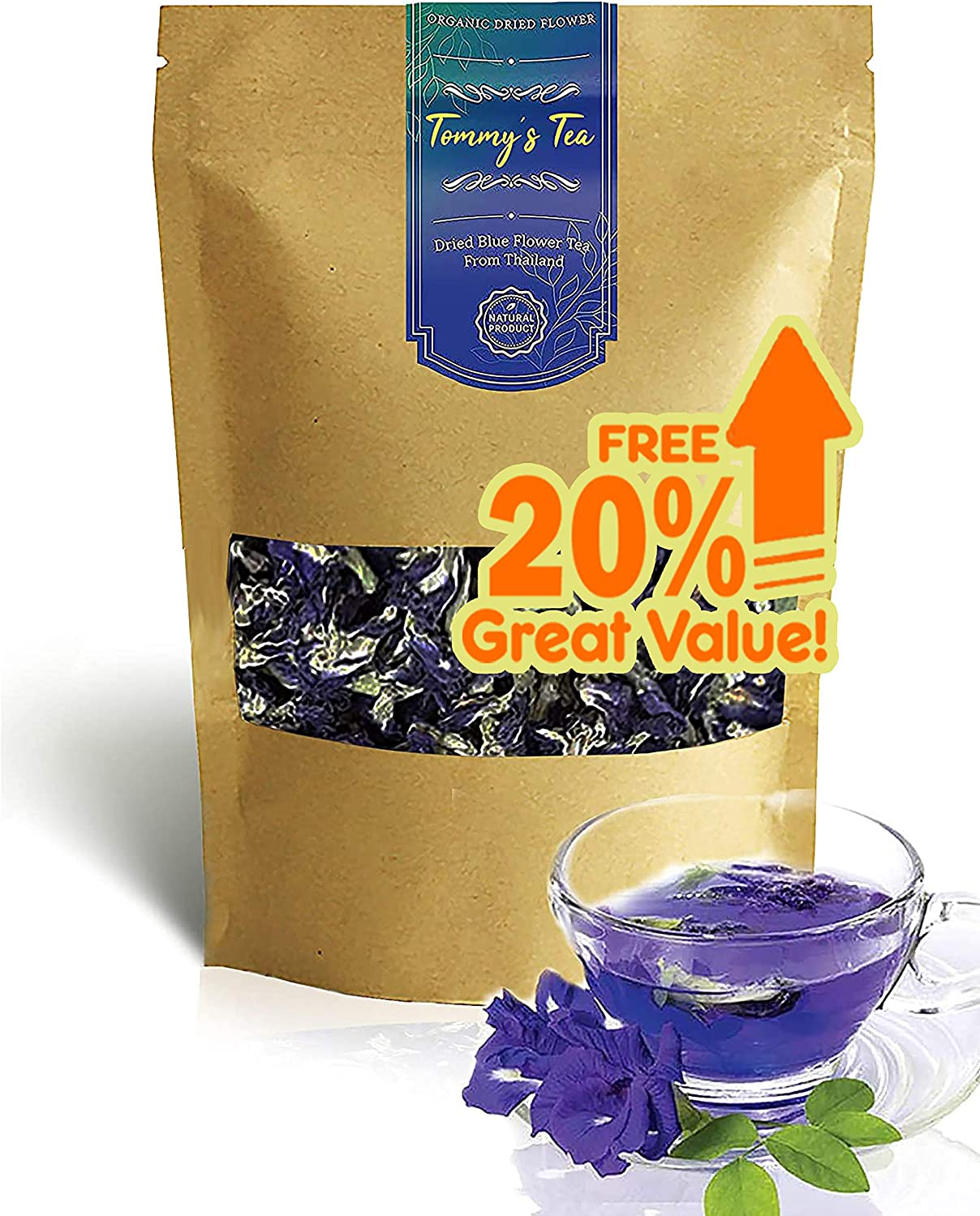 Tommy's Tea : Premium Thai Butterfly Pea Flower Blue Herbal Tea - 2.2 oz. (61 g) | Whole, All Natural, Vegan, Food Coloring, Dried for Food & Beverage
