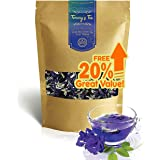 TOMMY's Tea : Premium Thai Butterfly Pea Flower Blue Herbal Tea - 2.2 oz. (61 g) | Whole, All Natural, Vegan, Food Coloring,