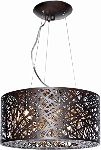 ET2 E21309-10BZ Inca 7-Light Multi-Light Pendant, Bronze Finish, Cognac Glass, G9 Xenon Bulb, 20W Max., Dry Safety Rated, 2900K Color Temp., Standard Dimmable, Acrylic Shade Material, 65 Rated Lumens