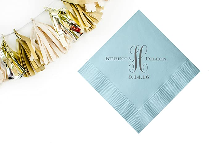 Fancy Personalized Wedding Cocktail Napkins