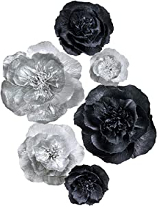 Letjolt Black Paper Flower Decorations for Wall Backdrop Wedding Thanksgiving Day Birthday Baby Shower Bridal Shower Nursery Wall(Silver Black Set 6)